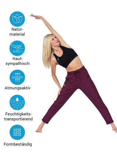 Yoga pants Mela Wine made of soft high-quality natural material