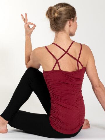yoga top Julia Red en matière naturelle