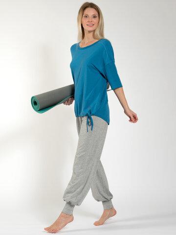 Yoga Shirt Sara Aqua aus Naturmaterial