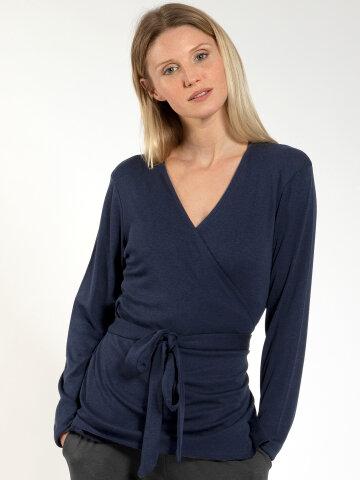 Wrap cardigan Zoe Navy made of natural material