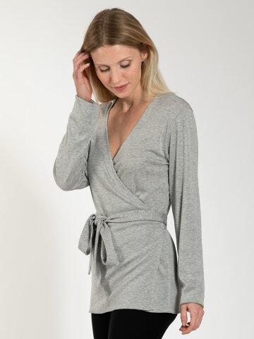 Wrap cardigan Zoe Grey made of natural material