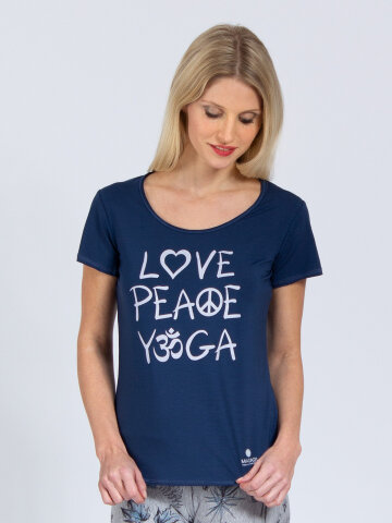 T-Shirt Love-Peace-Yoga denim bleu