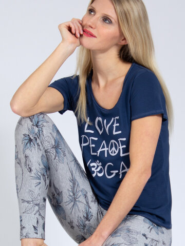 T-Shirt Love-Peace-Yoga Denim Blau aus Naturmaterial