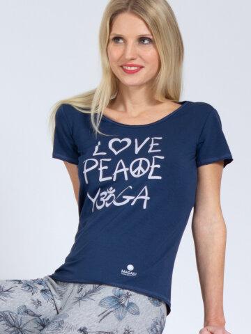 T-Shirt Love-Peace-Yoga denim bleu