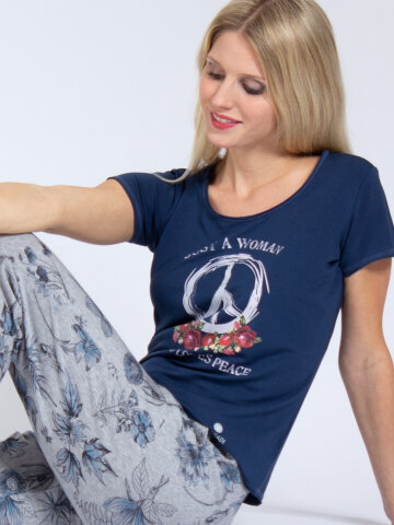 T-Shirt Peace Denim blue made of natural material