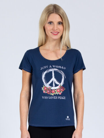 T-Shirt Peace denim bleu